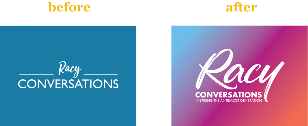 before and after of Racy Conversations' logo redesign