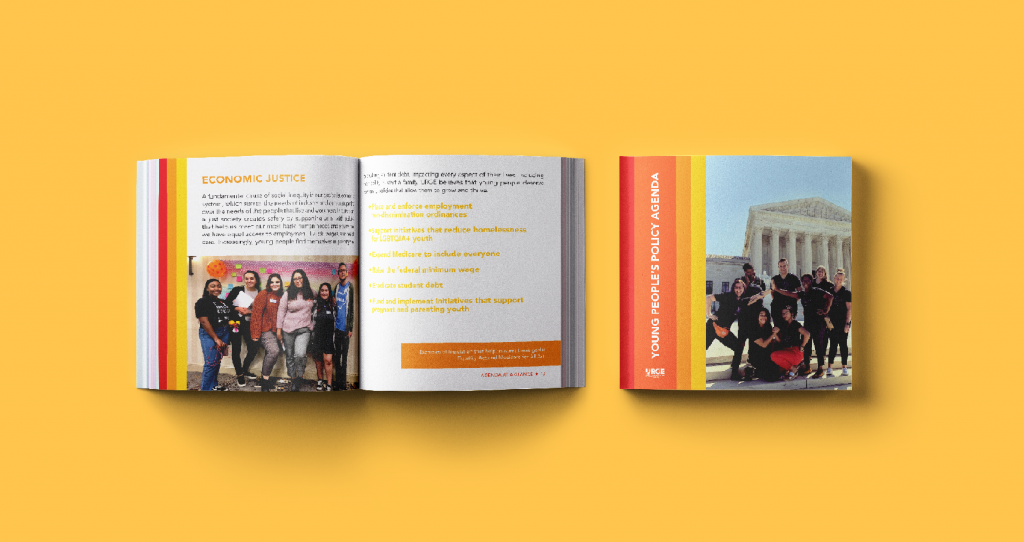 URGE's Young People Policy Agenda brochure designed by bombilla