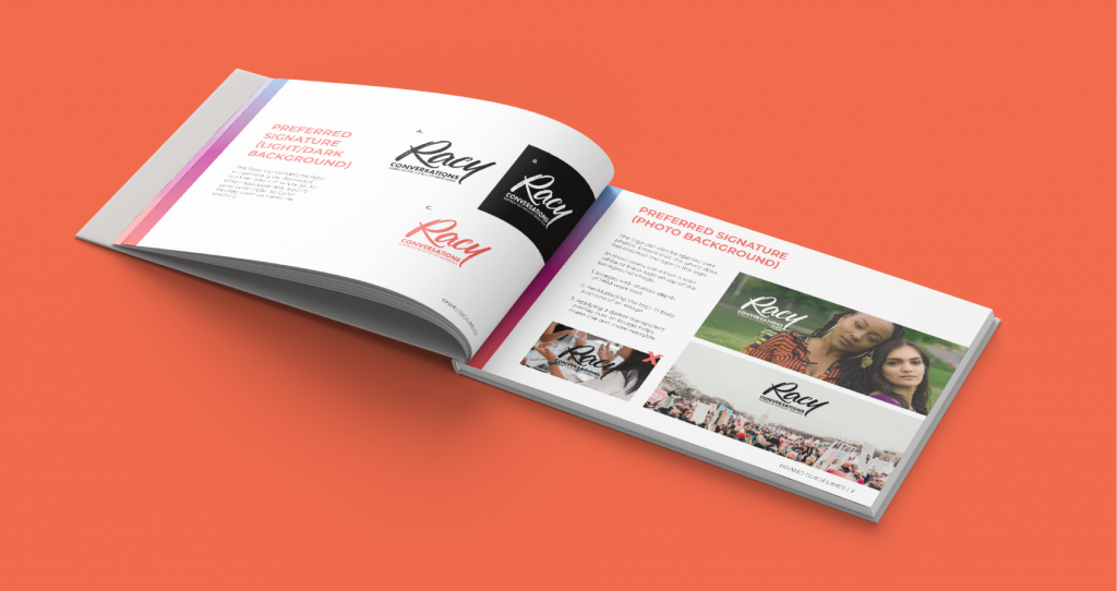 Racy Conversations' brand guidelines booklet