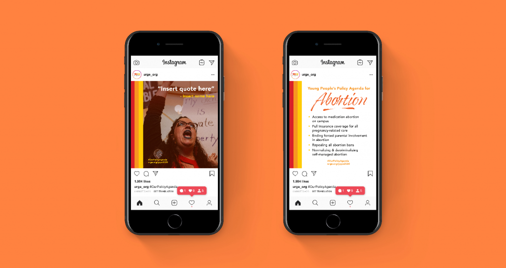 URGE Instagram template concepts designed by bombilla