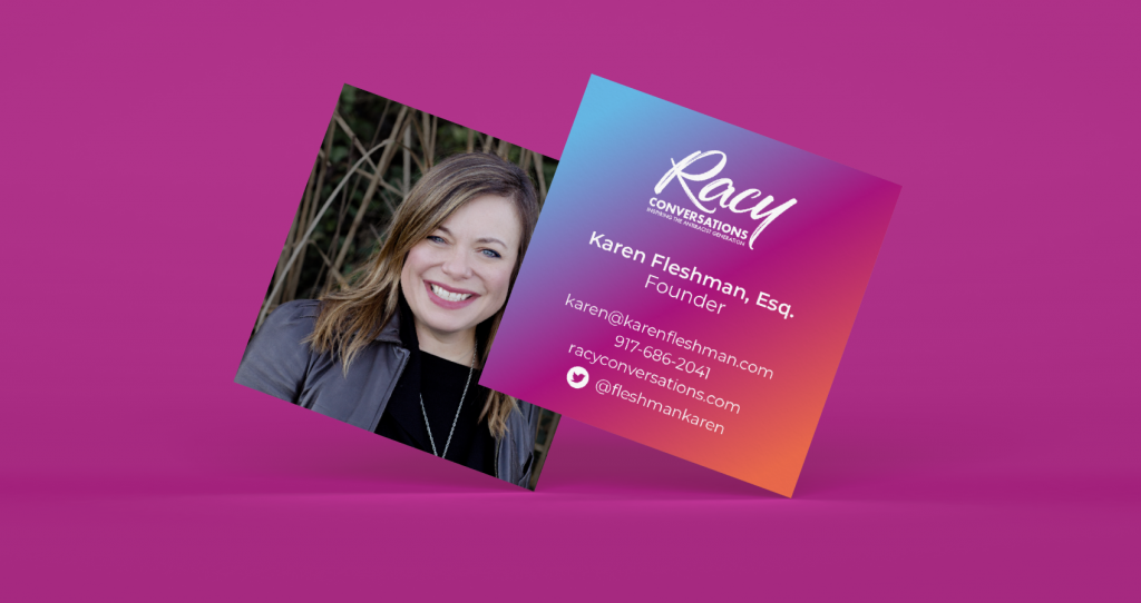 front and back of Racy Conversations' branded business cards